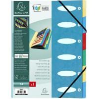 EXACOMPTA - Trieur a soufflet elastique - 6 positions - 24,5 x 31,5 - Carte lustrée vernie F.S.C 5/10eme - 4 couleurs aléatoires