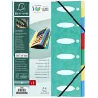 EXACOMPTA - Trieur a soufflets a élastiques - 6 positions - 24,5 x 31,5 - Feuillets carte - Carte lustrée vernie - Verte