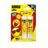 UHU LOT DE 2 STIC BLANC 21G SMILEY