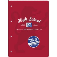 FEUILLETS MOBILES DETACHABLE OXFORD HIGH SCHOOL PERFORES A4 200P 90G