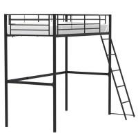 Lit mezzanine 90 x 190 cm en métal - Noir - Sommier inclus - ELIOT