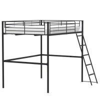 Lit mezzanine en métal - Noir - Sommier inclus - 140 x 200 cm - ELIOT