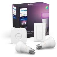 PHILIPS HUE Kit de démarrage White & Colors 2 ampoules avec pont de connexion et télécommande variateur - 10 W - E27