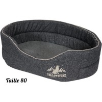 TYROL Corbeille Mousse Ovale, pour Chien Grand/Moyen, Couchage Confort, Design Moderne Yellowstone, Gris, Taille L, Dim. 80x56 c