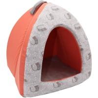 AIME Tipi Mousse pour Chat, Couchage Chat Confort Doux, imprimé coloré Corail, Coussin Amovible Taille S, Lavable machine