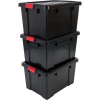 IRIS OHYAMA Lot de 3 boîtes de rangement avec fermeture clic - Power Box - SK-700 - Plastique - Noir - 68 L - 63,5 x 44,6 x 35,5