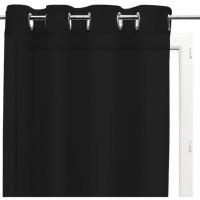 SOLEIL d'OCRE Voilage a oeillets Panama - Coton - 135 x 250 cm - Noir