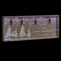 FEERIC LIGHTS & CHRISTMAS Décoration a poser intérieur Cadre de Noël en famille - 80 x 32 cm