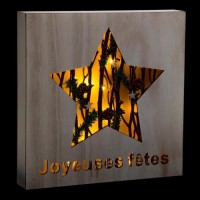 FEERIC LIGHTS & CHRISTMAS Décoration a poser intérieur Cadre Bois - Lumineux - H29cm