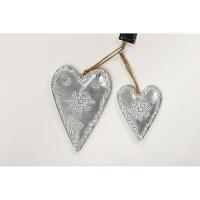Set de 2 suspensions coeur déco de Noël - H 14-20 cm - Argent