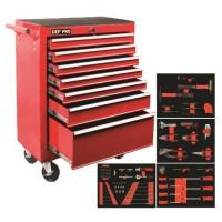 DEFPRO Servante d'atelier SERV588 7 tiroirs + 188 Outils et Embouts - Rouge