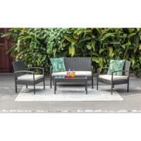 SAFI Salon de jardin 4 places en résine tressée - Noir avec coussins en écru