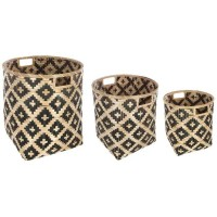 Set de 3 paniers en bambou - Bicolore