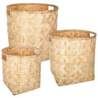 Set de 3 paniers ronds en bambou - Beige