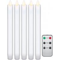 Lot de 5 bougies LED blanches en cire véritable, avec télécommande