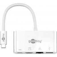 Adaptateur USB-C™ multiport HDMI+Ethernet, alimentation électrique, blanc