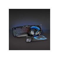 Combo de jeu kit   4-en-1   Clavier, casque, souris et tapis de souris   Bleu / Noir   QWERTY   Disposition Espagne