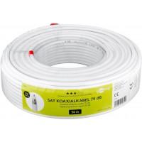 75 dB câble d'antenne coaxial Quattro, 2x blindé, CCS, 50 m, Blanc