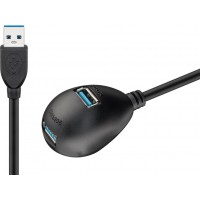 Câble de rallonge USB 3.0 Hi-Speed avec support, Noir 1.5 m
