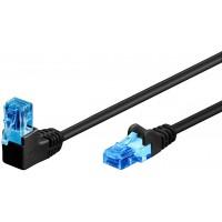 CAT 6A câble de liaison 1x 90° coudé, U/UTP, Noir 0.5 m