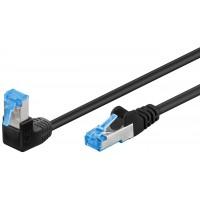 CAT 6A câble de liaison 1x 90° coudé, S/FTP (PiMF), Noir 0.5 m