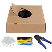 CAT 6 kit de câbles réseau Outdoor, U/UTP, Noir 100 m