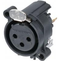 XLR Prise d`appareil 3 A Verticale / Montage PCB noir