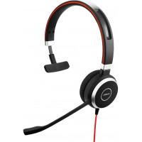 Jabra Evolve 40 MS Mono Casque audio - Casque certifié Microsoft pour VoIP Softphone avec annulation passive du bruit - Câble US