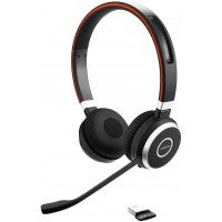Jabra Evolve 65 Stereo Casque supra-auriculaire sans fil - Casque certifié Microsoft avec batterie longue durée - Adaptateur Blu