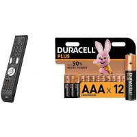 Télécommande Universelle One For All Essence 4 - Noire, URC 7140 & Duracell Plus, Pack de 12 Piles alcalines Type AAA 1,5 Volts