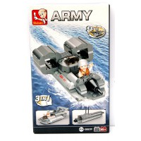 Jeu de construction Sluban Elements Aircraft Carrier Series Jet Boat 3-In-1