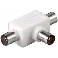 Adaptateur Coax T-Adapter (plastique): jack 2x Coaxial