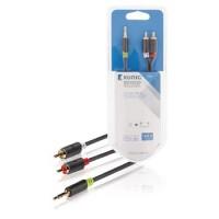Câble audio stéréo 3.5 M - 2RCA M 3,5 mm mâle - 2x RCA Mâles 10.0 m Anthracite
