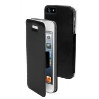Etui à rabat Noir + Film de Protection d'écran pour iPhone 5/5S