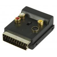 Adaptateur péritel plaqué OR Commutable PERITEL Mâle - S-Vidéo femelle + 3x RCA femelle Noir